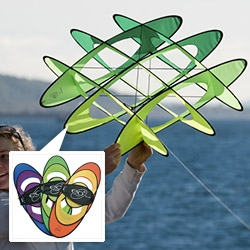 Prism Kites EO-6 (EO = Expandable Object) The original brainchild of Phil McConnachie, the EOs are dynamic box kites that soar like a traditional single-liner, or with a tug on the line they become playful tumblers with a fascinating range of tricks.