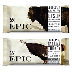 Epic Bar ~ nice branding/packaging, intriguing super meaty (Bison, Turkey, Beef) snack bars that are high in protein and low in sugars.