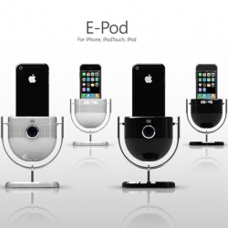 A fun conceptual iPod dock, the E-Pod throws in the functionality of a speaker, movie projector and alarm clock all into one nicely designed product.