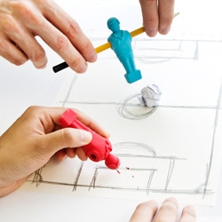 Foosball Erasers. Draw a football pitch, slide these erasers on to your pencil and kick off a foosball match with your colleague! When the boss comes round simply erase all the evidence.