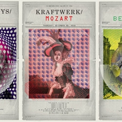 Poster series for a concert of electronic musicians playing classical music with digital instruments. Newspaper illustrations from the 1800's combine with contemporary optical patterns.