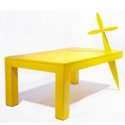 Atelier Biagetti's  bright yellow lacquered wooden table is part of a limited edition series of 10 and would be the perfect living room piece to set the stage for a fierce face-off of bloodthirsty pirates!!