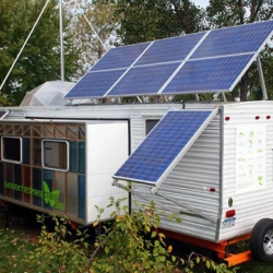 Paul Villinski's Emergency Response Studio is a totally self-sufficient traveling artist studio outfitted with solar panels, a wind turbine, non-toxic furnishings, and plenty of space to create.
