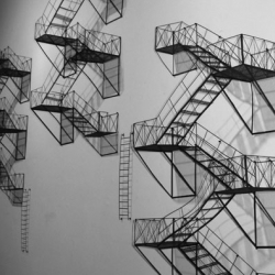 Small fire escape sculptures by Jen Spinner.