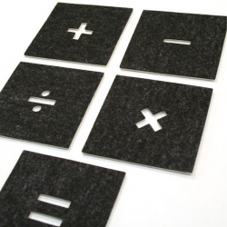 Practice your math skills with Etcetera Media's new reversible felt PlaceMath Coasters and Placemats.