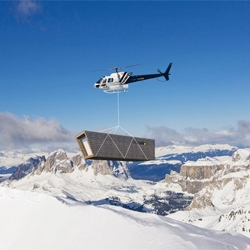 A plan for temporary, self-sufficient shelter delivered by helicopter.