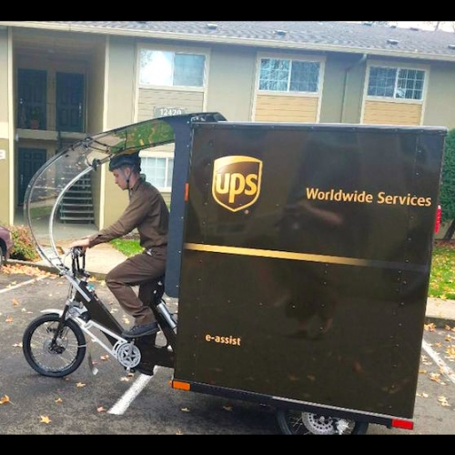 UPS eBike - electrically assisted tricycles have begun delivering packages in Portland, OR. The eBike can be operated solely on battery power or pedal power.