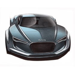 The exterior and interior design sketches of the Detroit showcar Audi e-tron Concept, the compact two-seater electric sportscar that adopts the design language introduced with the original e-tron at Frankfurt.