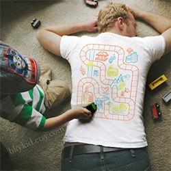 Car and Railroad Playmat T-shirts that let you get a back massage of sorts while your kids play... by bky kid