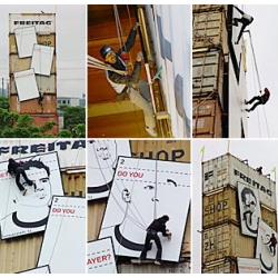 Bruno Muff, Markus Freitag and Daniel Freitag risked their lives dangling from ropes over hours just so the audience could view the mother of all oversized football portraits at the Freitag tower in Zurich.