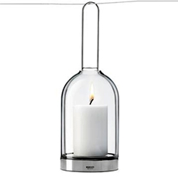 Eva Solo's 'Hurricane' lamp by Claus Jensen. Designed to take candles or tea lights. For standing on a patio or balcony table or for hanging from trees or door frames.