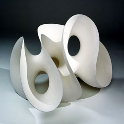 I like the mathematical / organic feel of  these ceramic sculptures by swedish artist EVA HILD