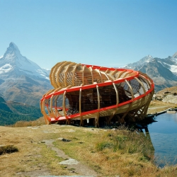 Evolver is an architectural artefact intervening on the panorama surrounding Zermatt. It was designed and executed by a team of 2nd year students from the ALICE Studio at Ecole Polytechnique Fédérale de Lausanne (EPFL), Switzerland.