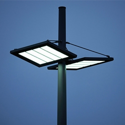 T-System is a 22m high and extremely efficient LED-lighting system by Italian manufacturer ewo.