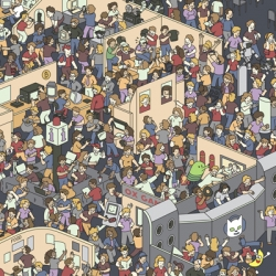 Where's Wallet wants you to find the 25 Technology Icons in this homage to Where's Waldo by illustrator Harry Bloom.