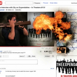 Sylvester Stallone explodes Youtube to promote the Expendables.