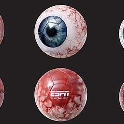 ESPN | Eyeballs > To attract more spectators, sports, the SAATCHI & SAATCHI of Singapore, has developed that direct mail to ESPN using balls making reference to the human eye.