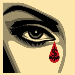 "Shepard Fairey's new poster print set concentrates on the eyes. It's called ""Eye Alert"" and there's a left eye and a right eye. See if you can spot the secret message - HINT - it's quite politically charged."