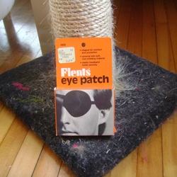 World Famous Design Junkies do an aesthetically informative photo shoot of an eyepatch packaging on top of a kittie scratching post. The patch is discussed, the post is not mentioned.