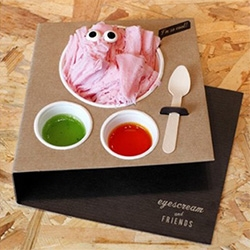 EYESCREAM! Amazing barcelona store for a deconstructed twist on the taiwanese shaved ice cream trend... with incredible branding, packaging, and googly eyes!
