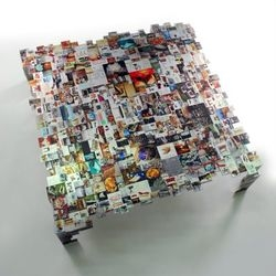 Ezri Tazari's coffee table seems to be made from hundreds of photos, and yet feel more like a study in UI design than industrial design.