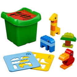 Duplo Creative Sorter Bucket - what a brilliant way to combine playing with duplo to build creatures... and convincing the kids to take them apart and put it all away with sorting covers...