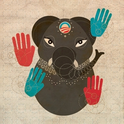 "Another example of Barack Obama inspired art: the cute ""Obamaphant"" by illustrator Zara Gonzalez."