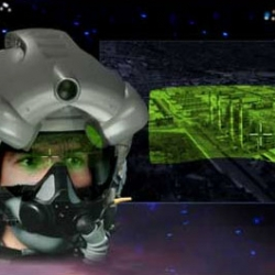 Created for the Joint Striker Fighter project, this helmet allows pilots to see through the plane floor and see long distance images. Outside the plane, cameras record what's below the plane.