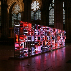 The f5x5x sculpture is a kinetic and luminous framework conceived and realised by LAb[au].