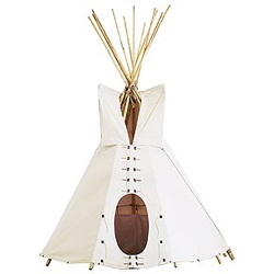 Dave Ellis' Army Duck Canvas Tepee is mildew resistant, flame retardant and full-sized at 15' tall by 12'  in diameter. Made with 16 foot Montana wood poles and leather ties and grommets. I want to camp in one now!
