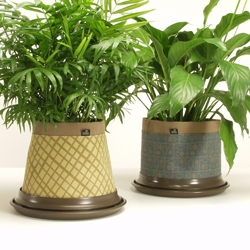 FabricPots from HOVA Design are the first plant containers made of waterproof breathable fabric.  Available in two styles, Frusto (conical) and Silo, with patterns by Angela Adams.