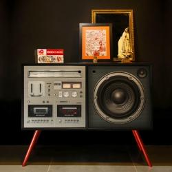 Meninos Studio furniture design. Boombox cabinet. Medium density fiberboard with uv print.