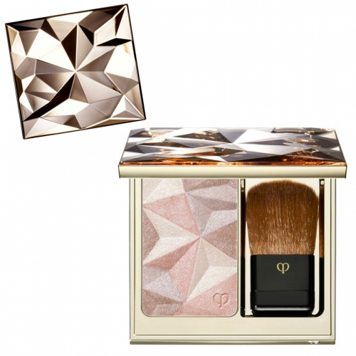 Clé de Peau Beauté Luminizing Face Enhancer. Fun faceted packaging and pressed powder pattern.