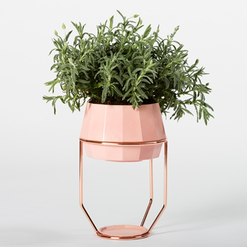 Faceta is a flowerpot made of ceramic, with an orthogonal shape formed by fourteen facets. It can be suspended by a metallic frame made of copperplated steel. Designed in Barcelona by Francesc Gasch