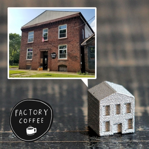 Factory Coffee in Kalamazoo is located in an old pattern shop that made wooden casting patterns and cast aluminum parts for folks like Gibson Guitar... and they had the grandson's factory make them adorable aluminum Monopoly Pieces of their BUILDING!