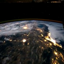 A beautiful time-lapse video taken from the front of the International Space Station as it orbits the Earth.