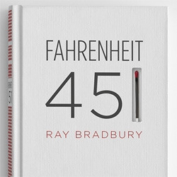 Artist Elizabeth Perez remakes the cover of Fahrenheit 451 with a screen printed spine featuring a match book striking surface so the book can be burned.