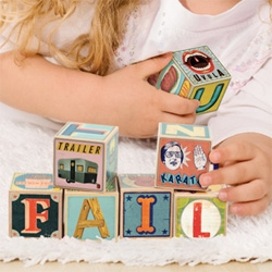 Fred's XYZ Blocks ~ adorable wooden alphabet blocks covered in illustrations by Christian Northeast!