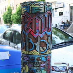 Despite the first piece being stolen in less than a week, Brooklyn-based art collective, FAILE, installed another one of their signature Prayer Wheel sculptures in Williamsburg.