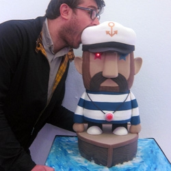 Pete Fowler collaborated with Michelle Wibowo to make 'Captain Fairtrade' - a star exhibit (& cake) shown at the recent edible art exhibition from The Mad Artists Tea Party, Cake Britain
