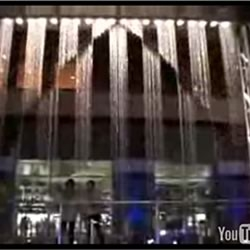 This waterfall installation located in the Canal City Hakata shopping complex in Fukuoka, Japan can form intricate patters using water sprayed from hundreds of nozzles that are precisely controlled by computers.