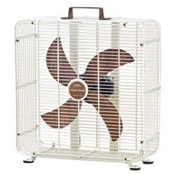 Rubrik Box Fan - in clean black or white wire casing with wood blades