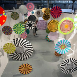Ara Peterson & Jim Drain created a mind trip of household fan driven pinwheels which are dizzying and fascinating to walk through at Avant/Garde Diaries Transmission LA: A/V Club at MoCA. See them spinning for the full effect.