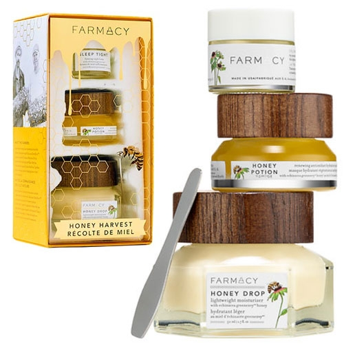 Farmacy Honey Harvest Kit - Honey Drop Lightweight Moisturizer, Honey Potion mask and Sleep Tight night treatment. All 3 products are NOTCOT favorites, and the packaging is fantastic. (The spatula magnetically attaching to the wood cap is a great detail.)