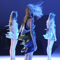 Earlier this year Hussein Chalayan showed his range of outrageous fashion at the Design Museum in London.
