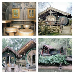 When I saw the post about the park hotel, I had to show you this:  a tiny village/hotel made of  wooden barrels. Inside it pretty much stinks and you would only sleep in one drunk.. If you dare to check out the site make sure audio is turned off...