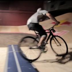 a tiny velodrome - a minidrome - built in a nightclub