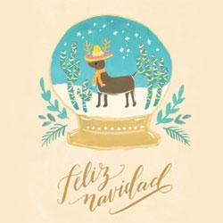 Fox & Fallow Feliz Navidad Holiday Card with a festive reindeer in a snow globe illustration.