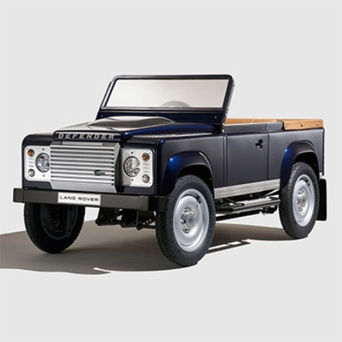 Land Rover Defender PEDAL CAR concept. Precisely scaled down compete with authentic interior details (like leather finish with trimmed seats, steering wheel and rear stowage), spring suspension, working brakes, and parking brake!