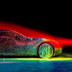 Watch Artist and Photographer Fabian Oefner Cover the 2015 Ferrari California T in Glowing Paint.